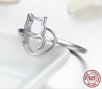"""Lovely Cat"" Ring aus 100% Sterling Silber - CrazyCatmom"