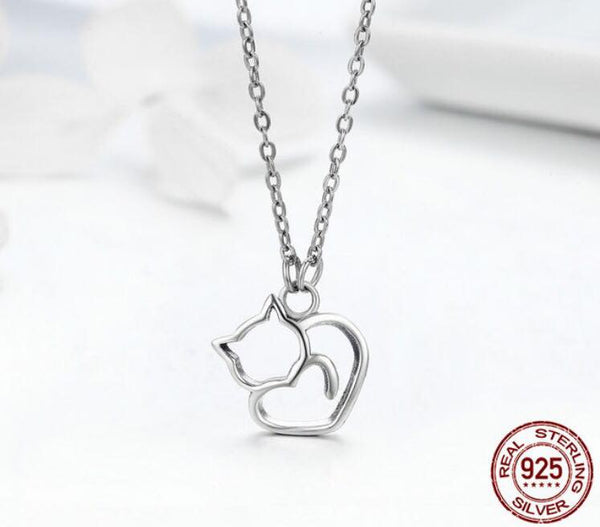 """Lovely Cat"" Halskette aus 100% Sterling Silber - CrazyCatmom"