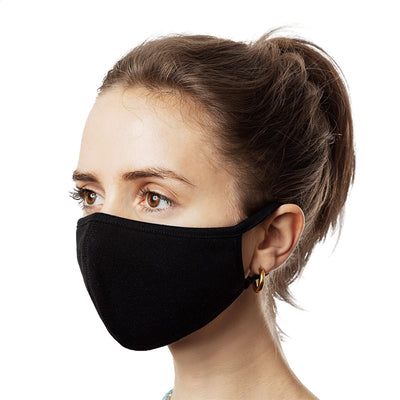Face Mask - Reusable Dual Layer Treated Fabric w/Elastic Ear Loops (3-Pack)