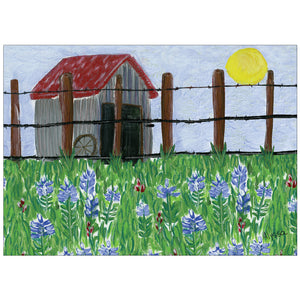 Barn and Bluebonnets Card 8 cards/9 env