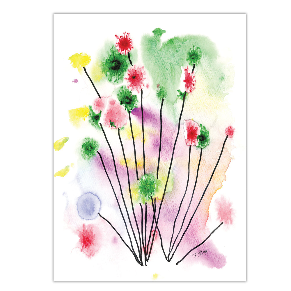 WATERCOLOR FLOWERS 8 cards/8 envelopes