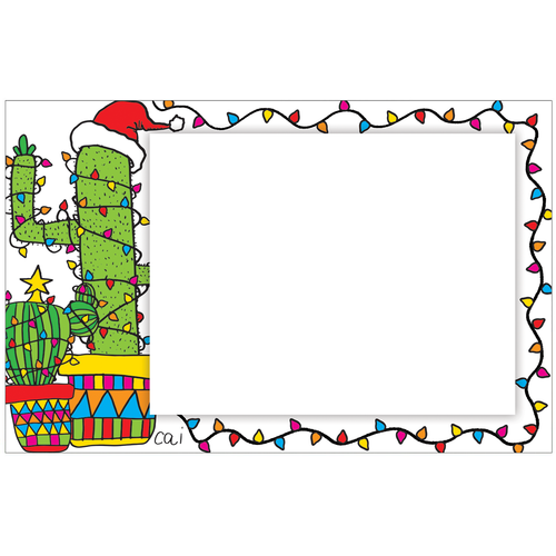 Cactus Christmas Tree Photo Card Horizontal by Cai