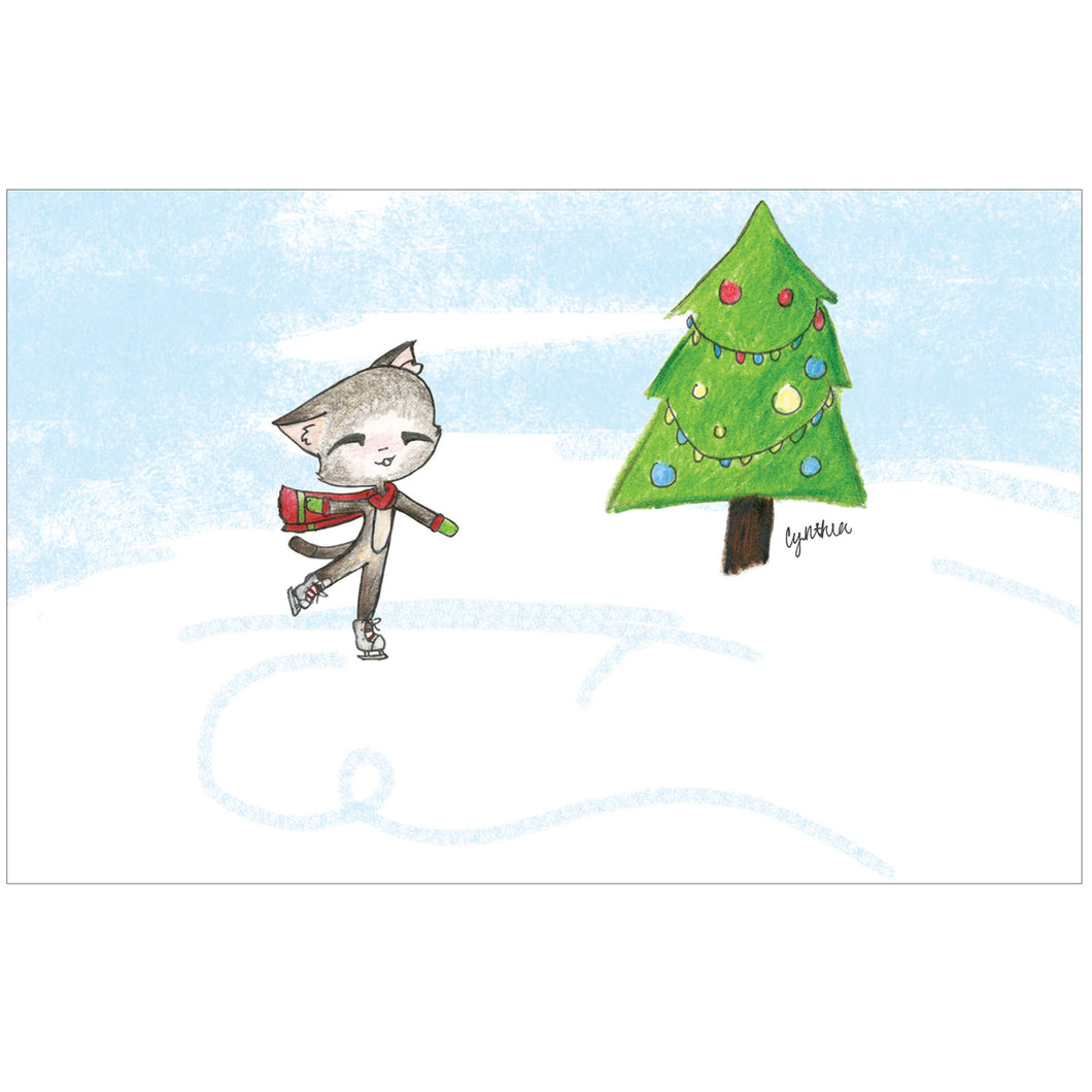Ice Skating Cat by Cynthia