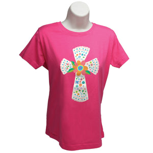 Large (10-12) - Pink, short sleeved, 100% cotton
