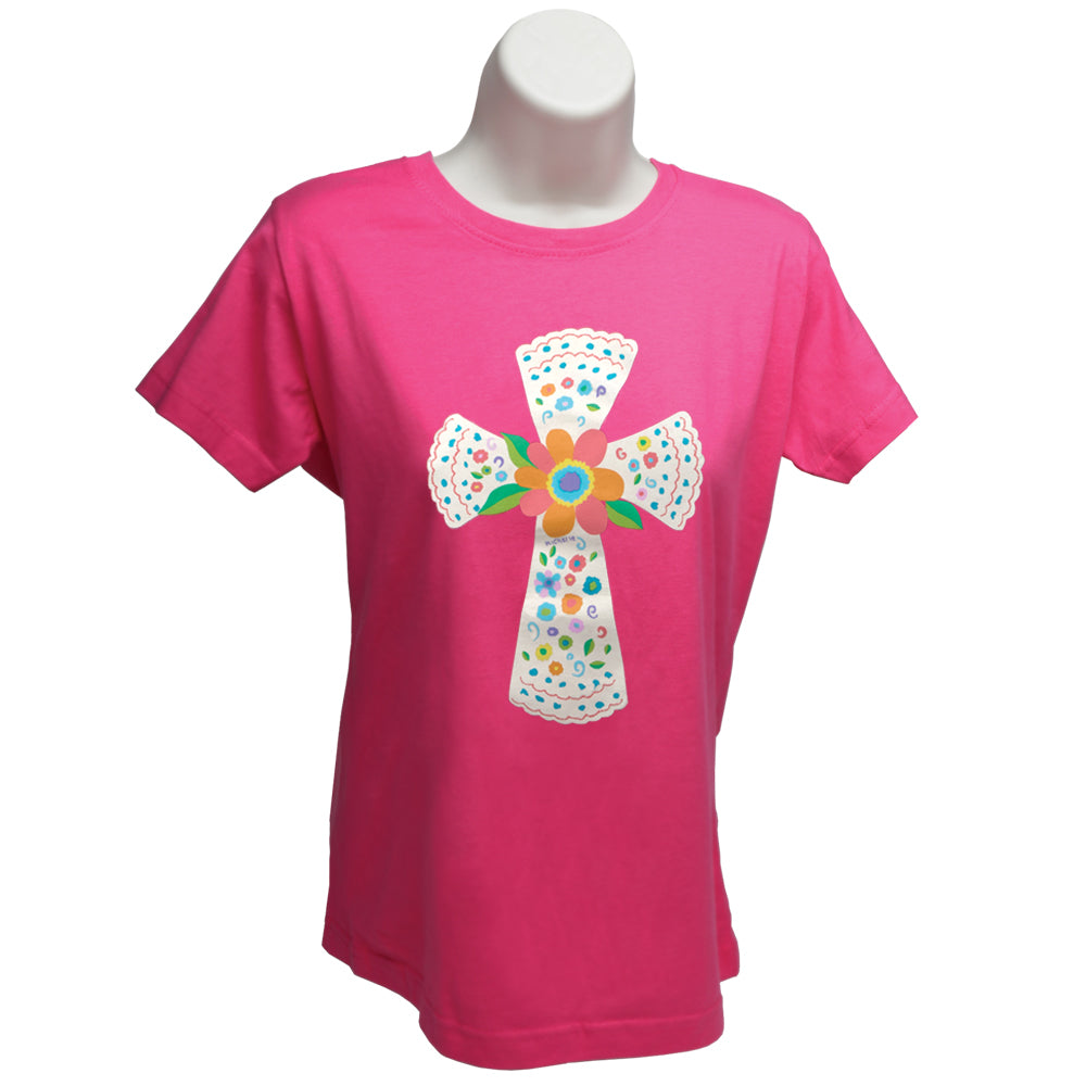 XLarge (14-16) - Pink, short sleeved, 100% cotton