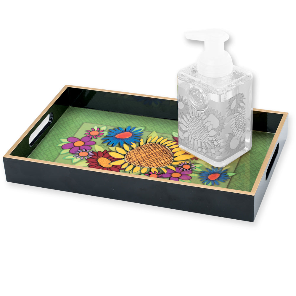 Flower Burst Collage Vanity Tray