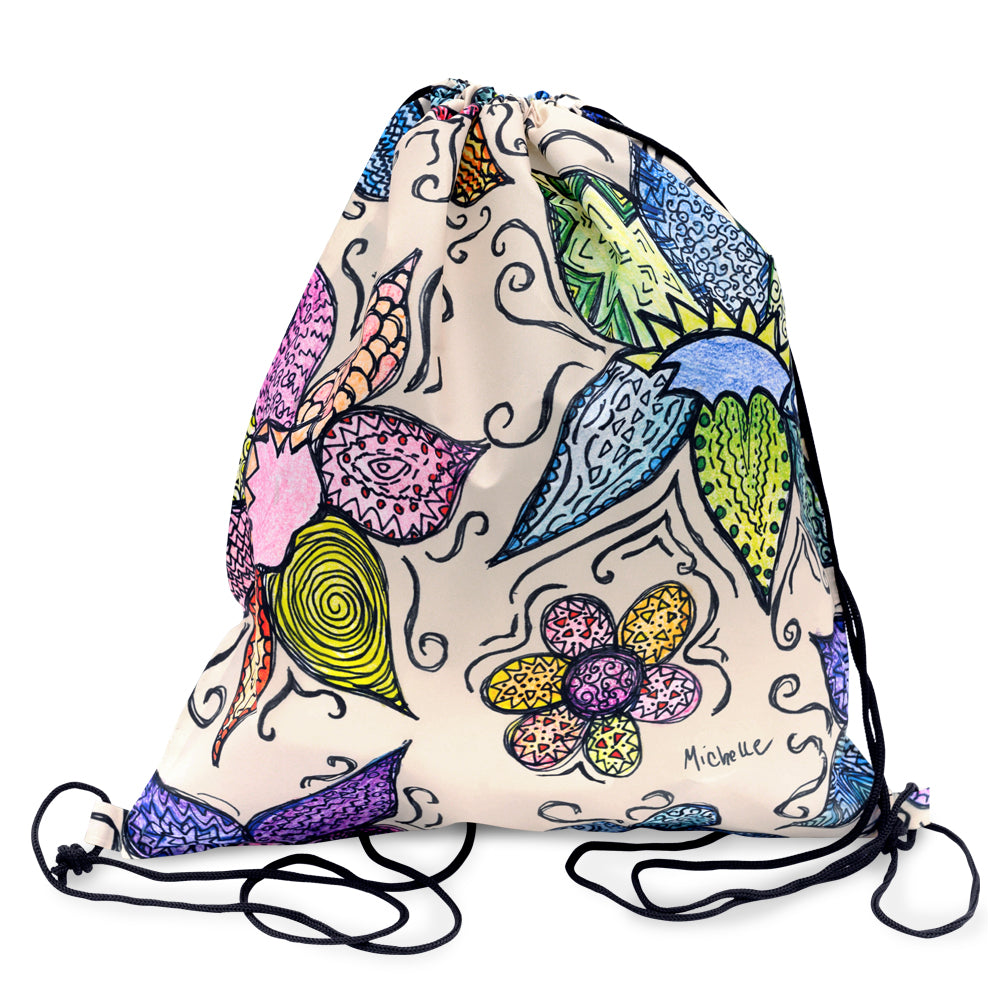 Flower Pattern Drawstring Backpack