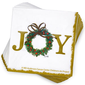 Joy Wreath Cocktail Napkin
