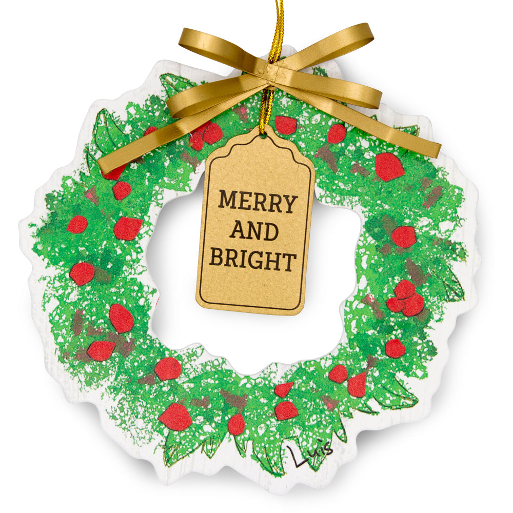 Wreath Ornament - Merry and Bright