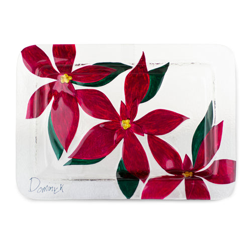 Poinsettia Fused Glass Plate