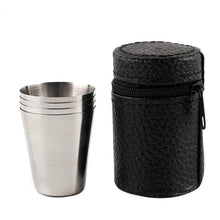 Polished Stainless Steel Travel Shot Glass Kit (4 Piece Set)