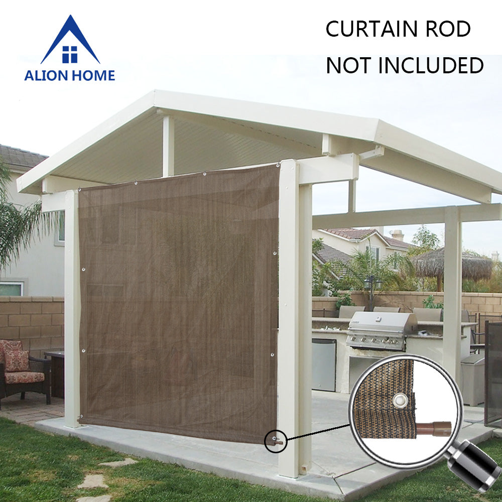 Rod Pocket Sun Shade Panel w/3 Sides Eyelets - Mocha Brown *Rod Pocket on Width* *Width x Height*