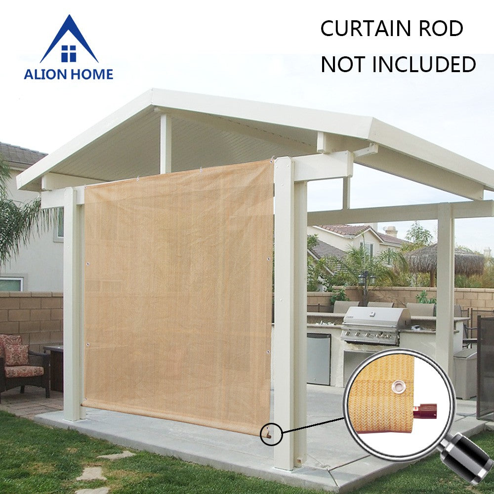 Rod Pocket Sun Shade Panel with 3 Sides Eyelets - Banha Beige