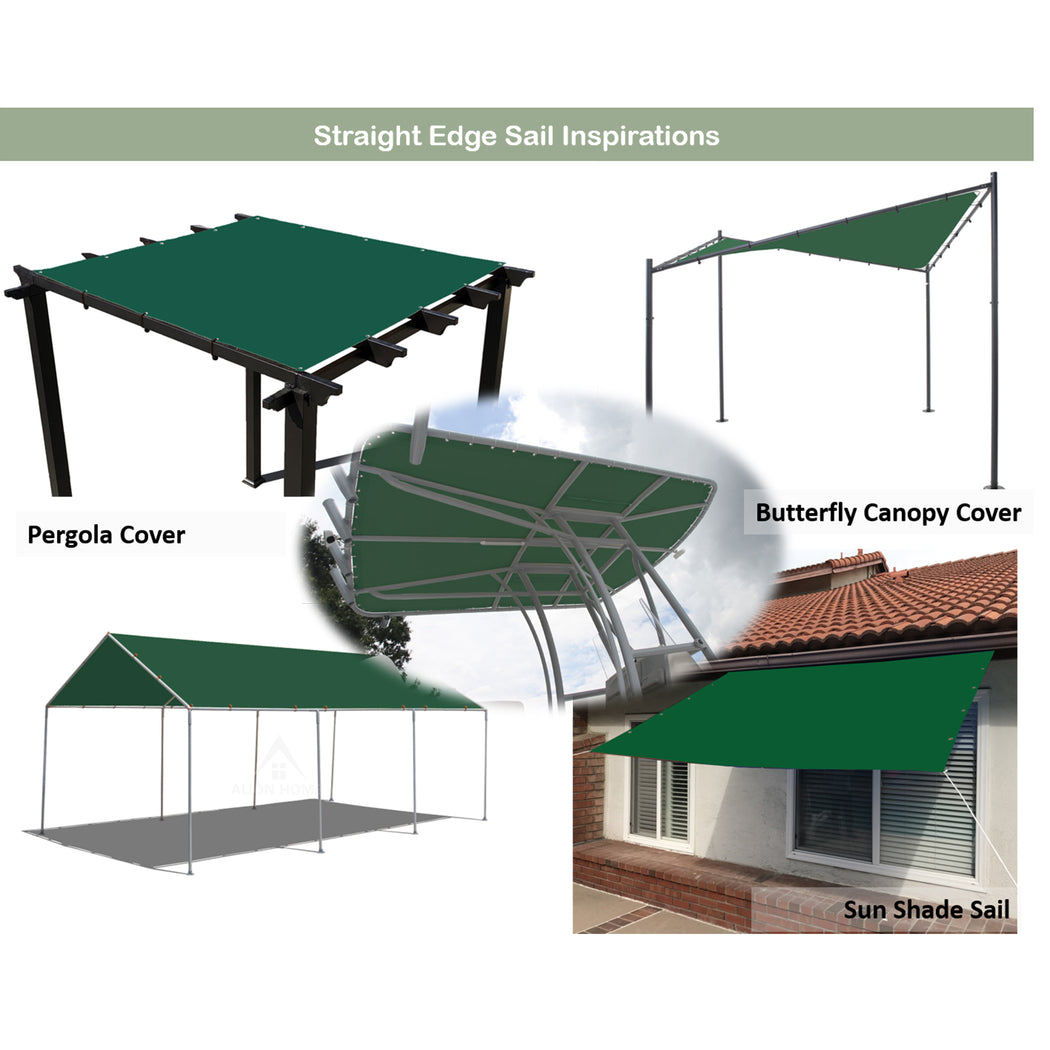 Custom Sizes Straight Edge Waterproof Woven Sun Shade Sail - Forest Green