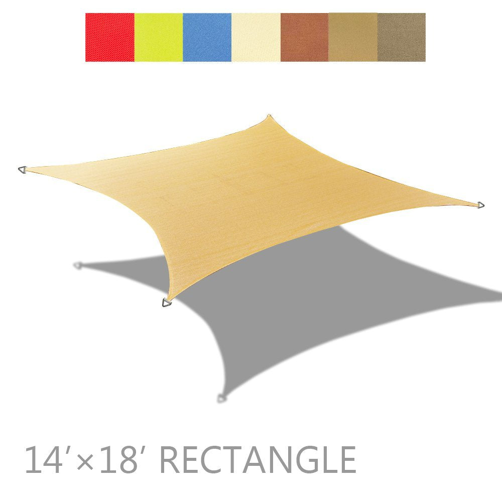 (14ft x 18ft) Rectangular PU Waterproof Woven Sun Shade Sail - Vibrant Colors