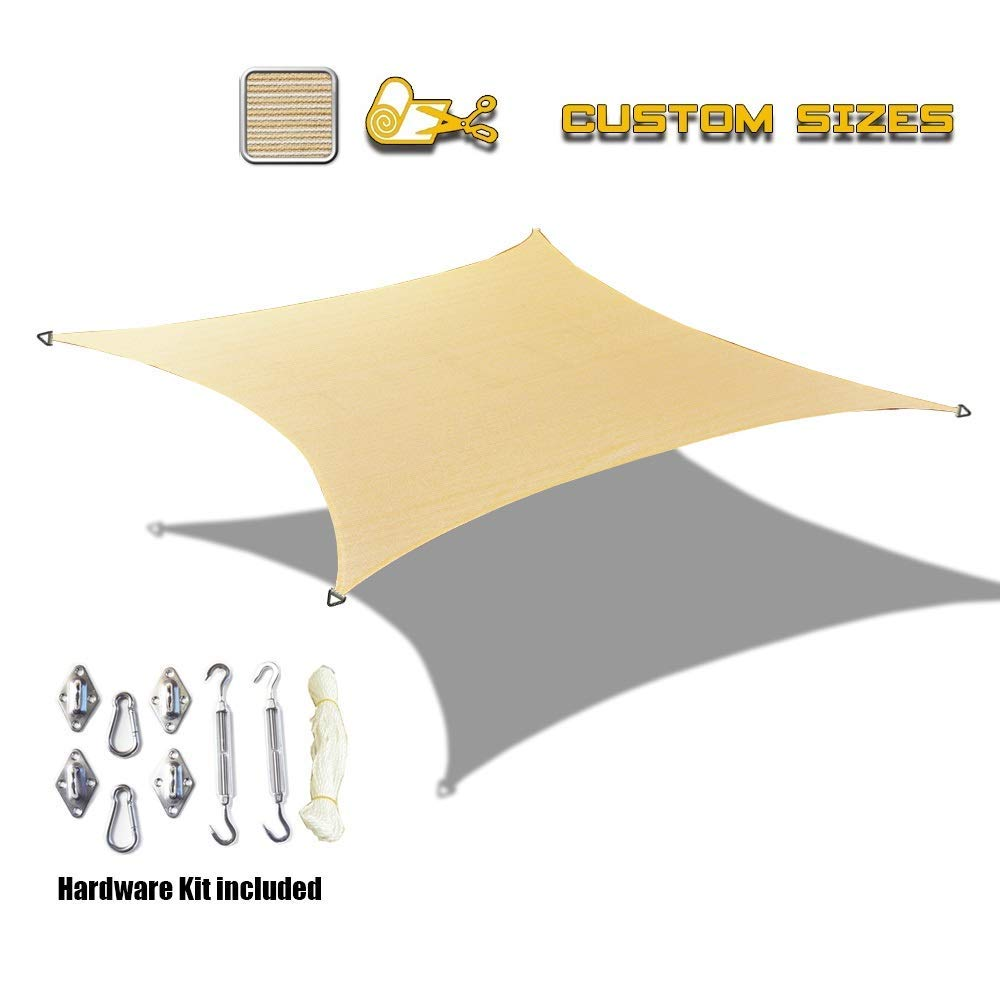 Custom HDPE UV Block Sun Shade Sail Permeable Rectangle w/Hardware kit - Beige