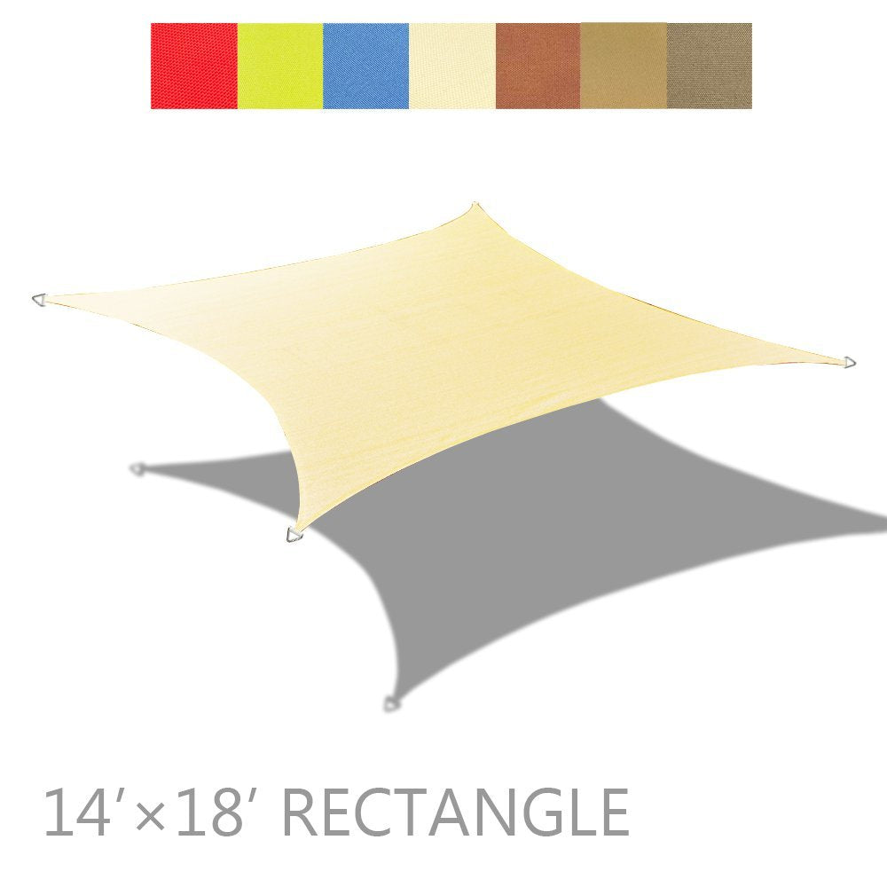 (14' x 18') Rectangle PU Waterproof Woven Sun Shade Sail - Vibrant Colors