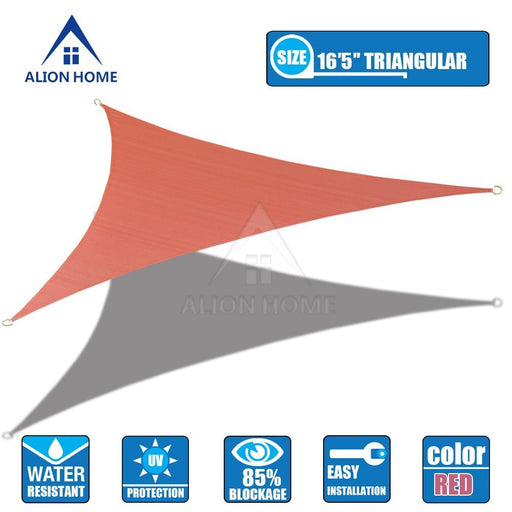 (16 ft 5 in Triangular) HDPE Sun Shade Sail - Terracotta Red
