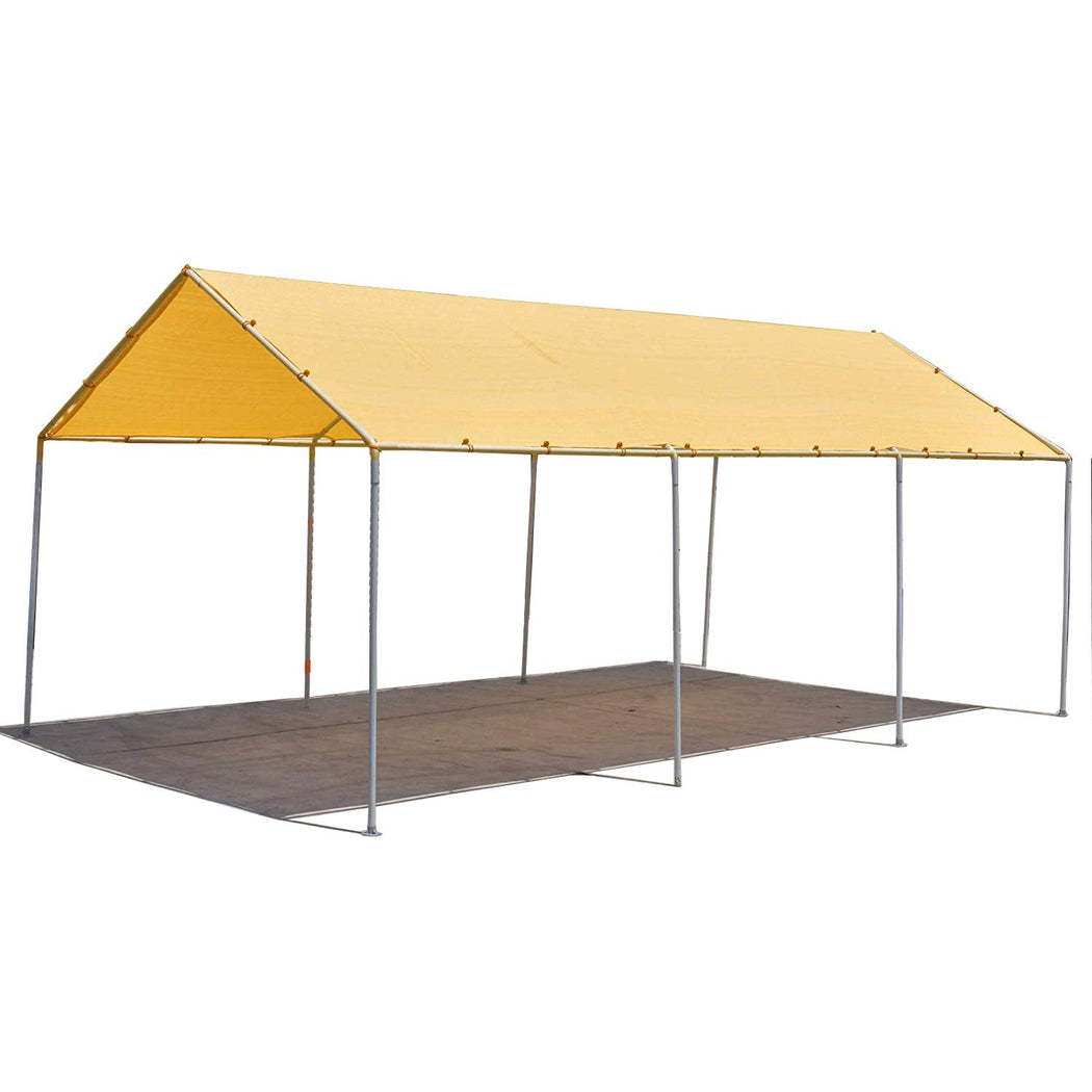 Waterproof Woven Carport Canopy Replacement Shade Cover for Low & Medium Peak(Frame Not Included) - Desert Sand