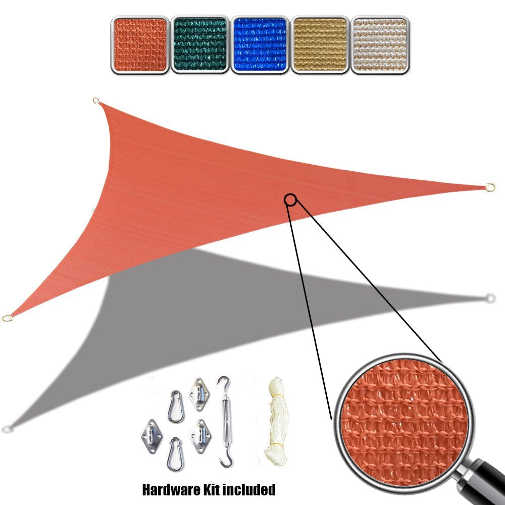 (10' x 10' x 10') Triangle HDPE Sun Shade Sail with 6'' Stainless Steel Hardware Kit - Variant Colors