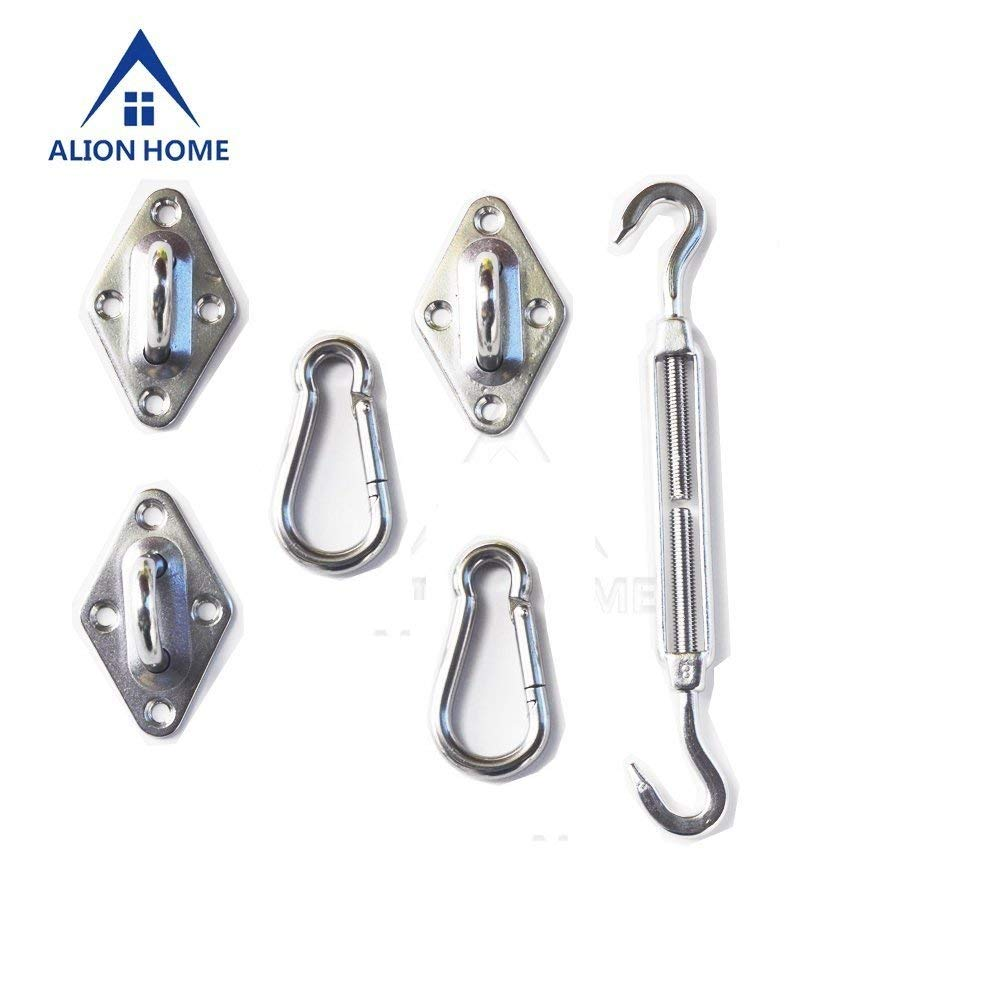 "Alion Home Sun Shade Sail Installation Stainless Steel Heavy Duty Hardware Kit for Outdoor (8"" for Triangle Sails)"