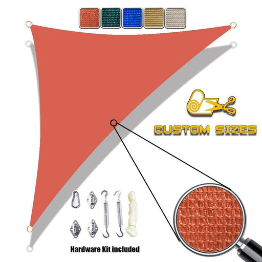 (12' x 12' x 17') Right Triangle Sun Shade Sail w/6''Stainless Steel hardware kit - Terracotta Red