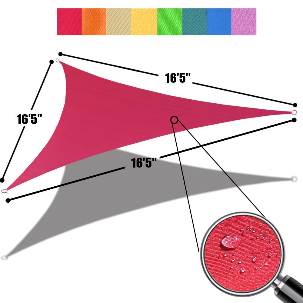 Custom Size (16'5'' x 16'5''x 16'5'') Triangle Waterproof Woven Sun Shade Sail in Vibrant Colors