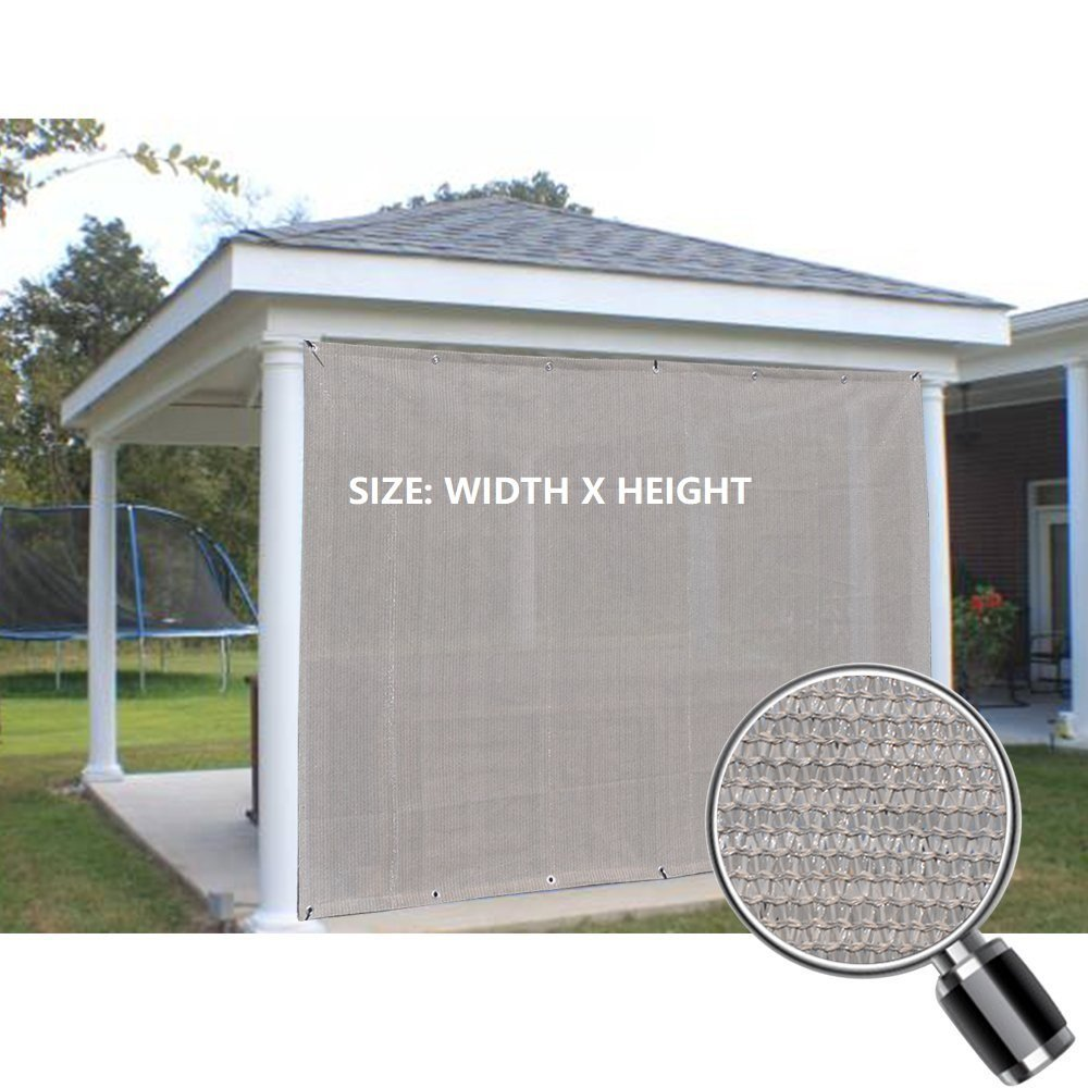 Custom Sized Sun Shade Privacy Panel (2 Sides Hemmed w/Grommets) - Smoke