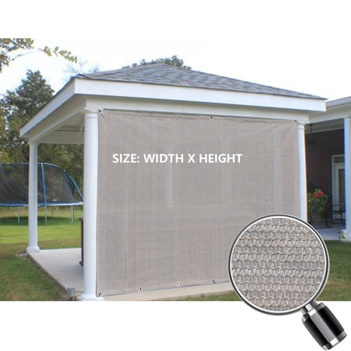 Custom Sized Sun Shade Privacy Panel (2 Sides Hemmed w/Grommets) - Smoke Grey