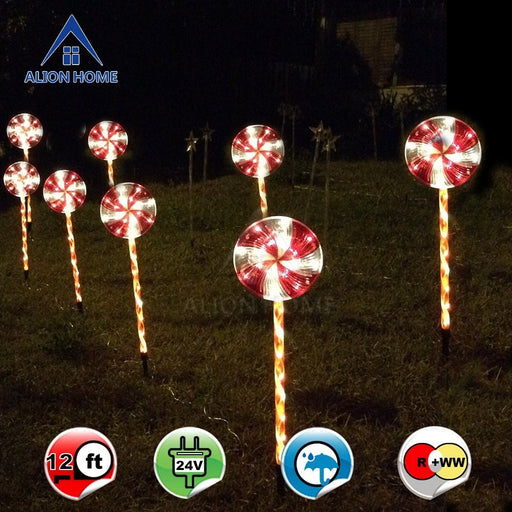 Candy Cane Lollipop 2.4ft Pathway Stakes - 96 Count LED Lights In Clear Tubes W/ 6 Lighting Mode Controller-2 Sets of 4 (total 8)