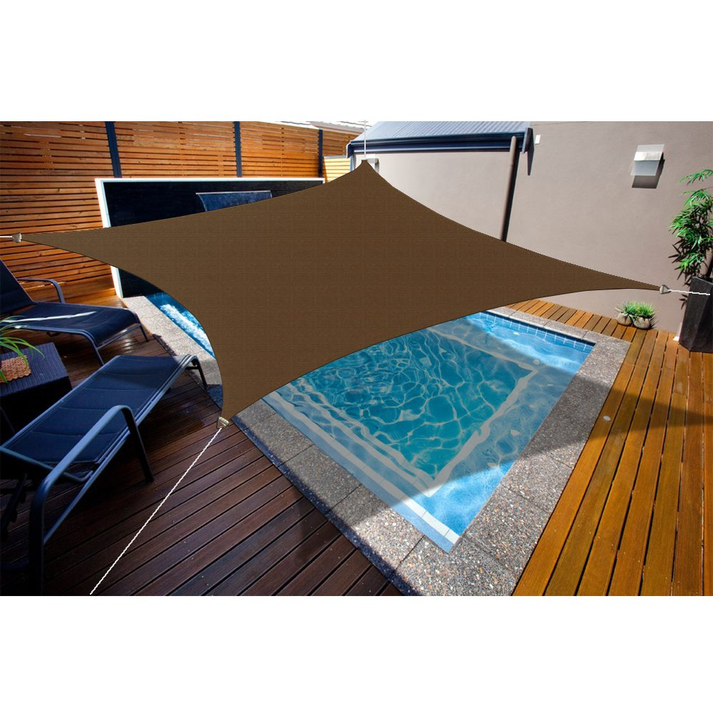 Custom Sizes Sun Shade Sail w/Stainless Steel Hardware Kit - Mocha Brown