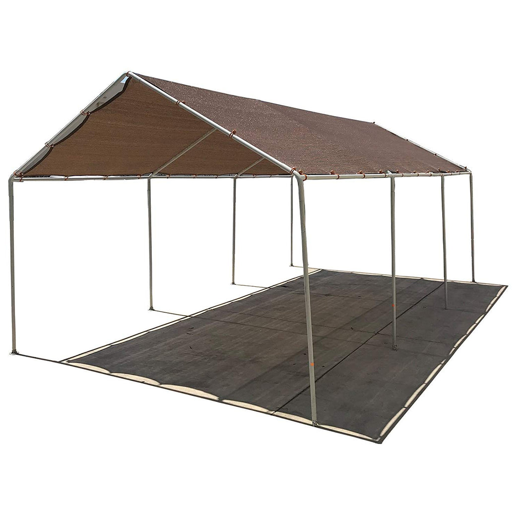 Carport Replacement Permeable Sun Shade Cover (Frame Not Included) - Mocha Brown *LISTED SIZES ARE NOT CARPORT SIZE*