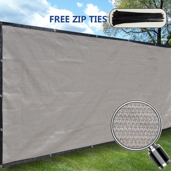 (6ft Tall) Custom Length Privacy Screen w/ Black Trim - Smoke Grey