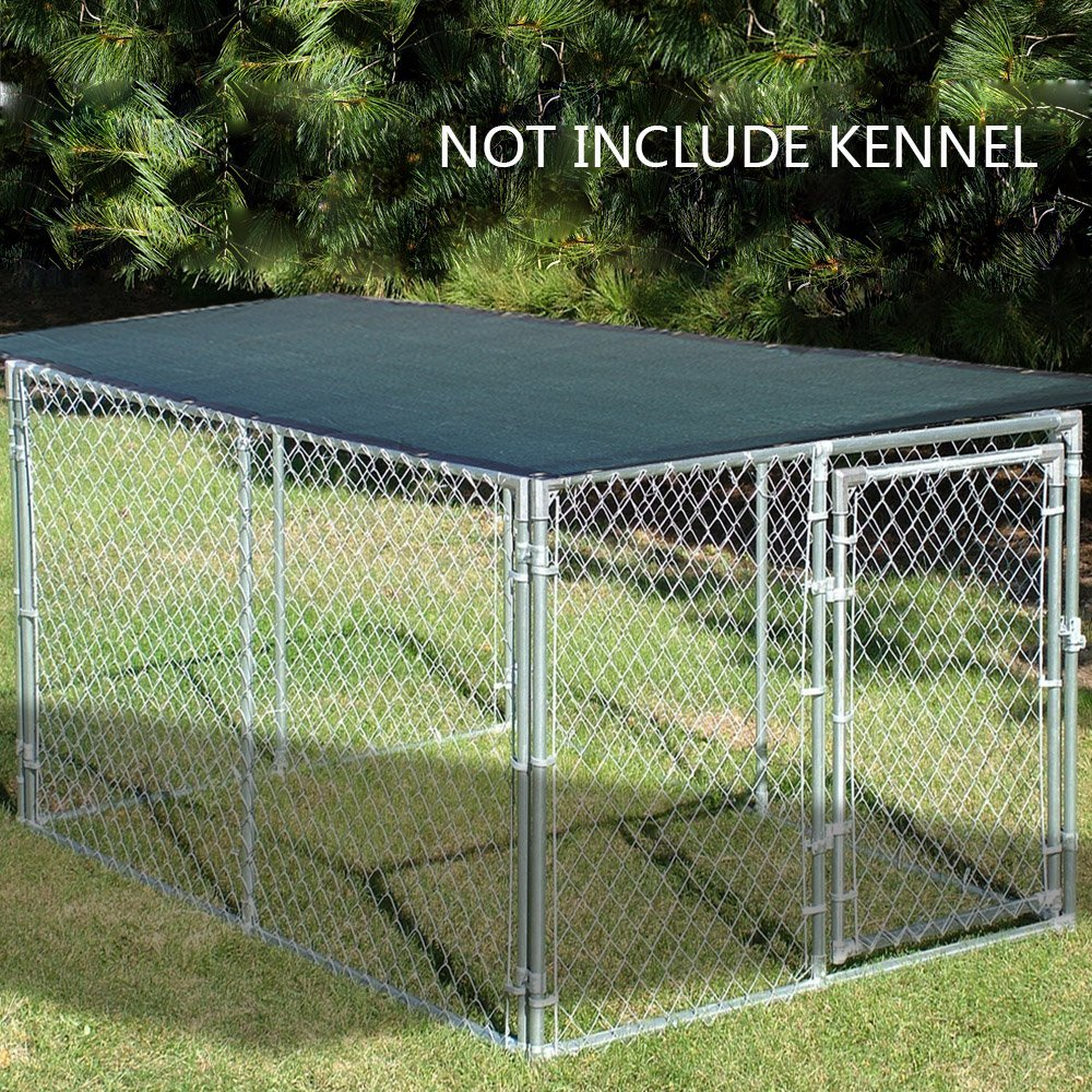Alion Home Sun Block Dog Run & Pet Kennel Shade Cover - Dark Green w/ Black Trim