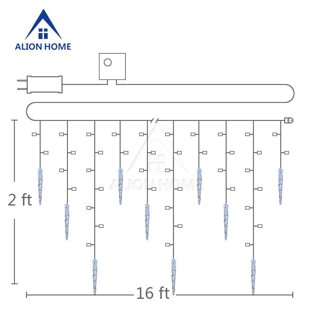 ALION HOME Icicles 2-in-1 Dual Color 176-Count LED Hanging Curtain Style Icicle Lights with 9 Functions & Controller
