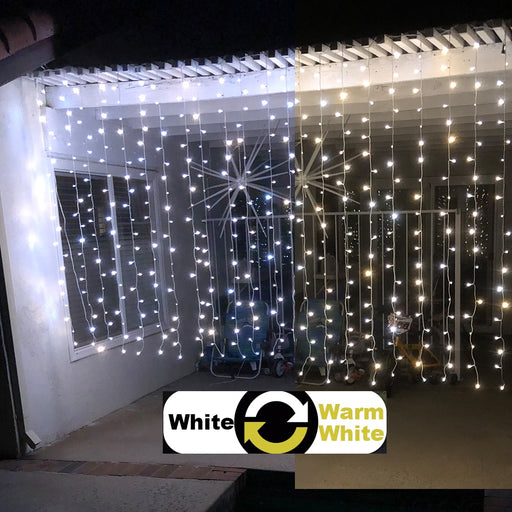 Alion Home Curtain Lights 2-in-1 Dual Color 400-Count LED String Light Wedding Party Outdoor Indoor Decorations - 10 ft W × 6 ft H