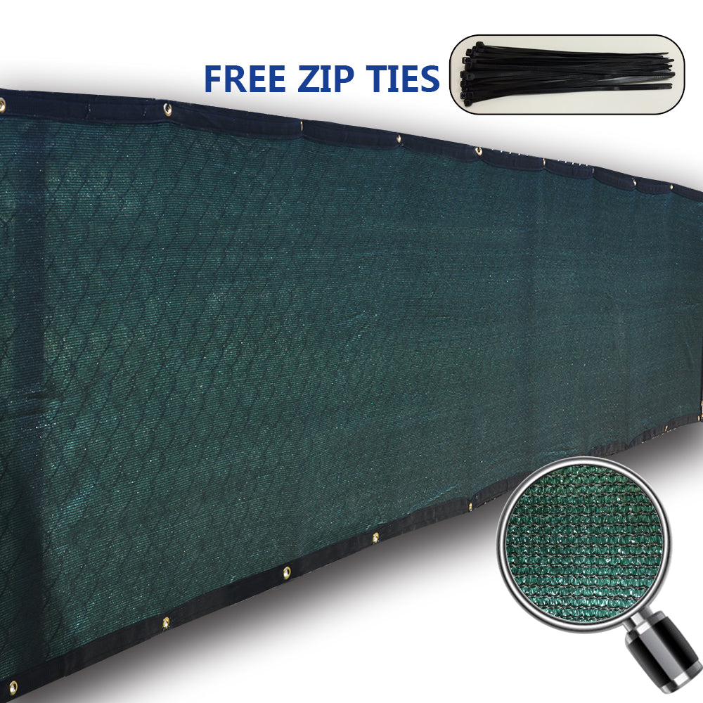 (3' x 26') Standard Size Privacy Screen - Dark Green w/ Black Trim