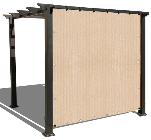 Custom Sized Sun Shade Privacy Panel (4 Sides Hemmed w/Grommets) - Banha Beige