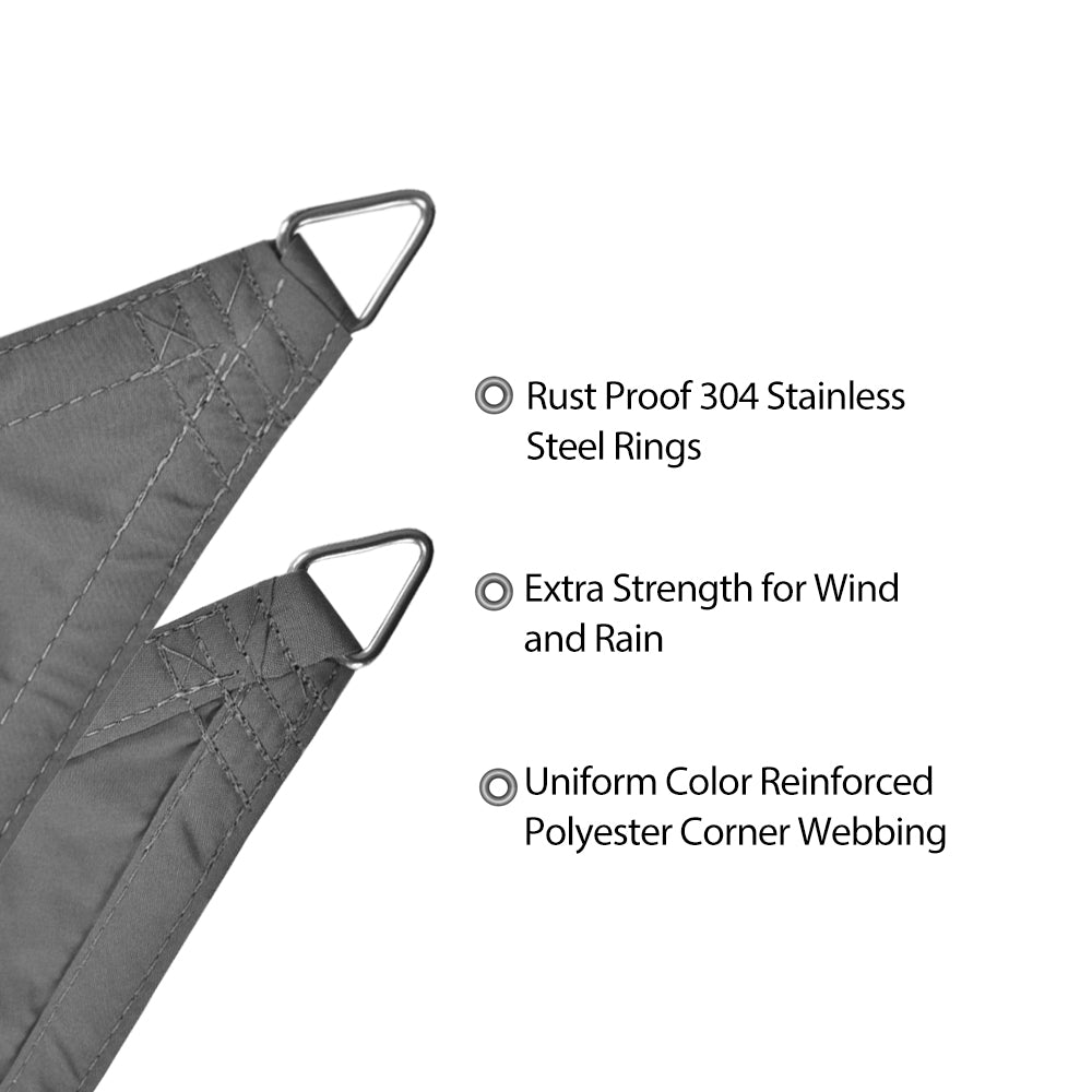 Custom Sizes Straight Edge Waterproof Woven Sun Shade Sail - Grey
