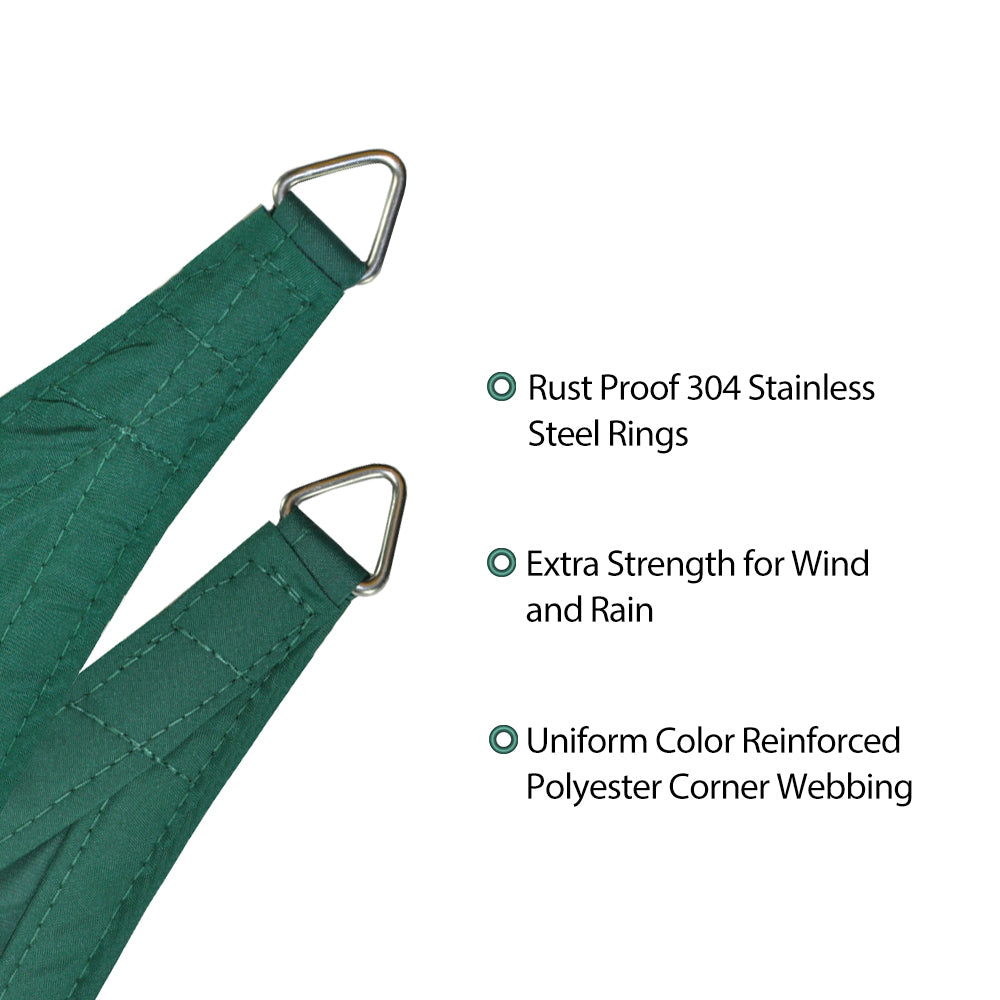 "Alion Home Waterproof Woven Sun Shade Sail - Forest Green (9 ft 10"" Triangular)"