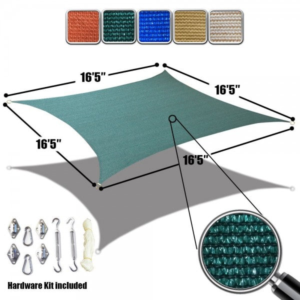 (16.5' x 16.5') Square Sun Shade Sail with Stainless Steel Hardware Kit - HDPE Permeable Mesh Multi Colors