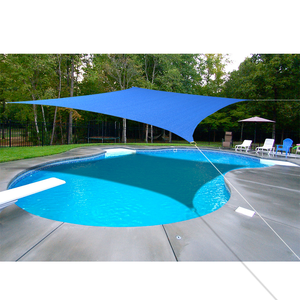 Custom Sizes HDPE Sun Shade Sail w/Hardware Kit - Royal Blue