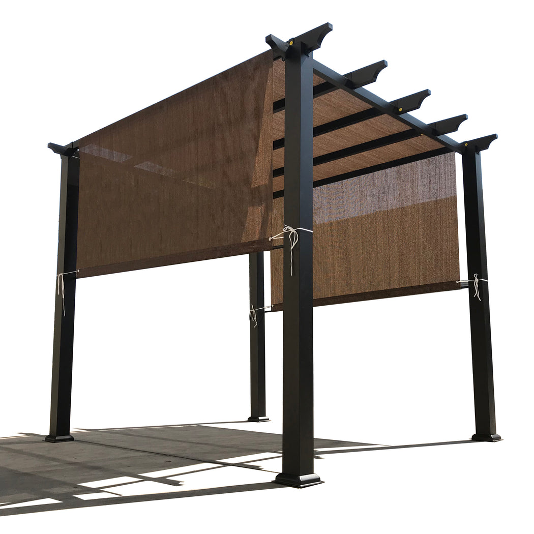 HDPE Sun Shade Rod Pocket Panel for Pergola - Mocha Brown (Pergola Not Included) *Rod Pockets on the Width (Length x Width)*