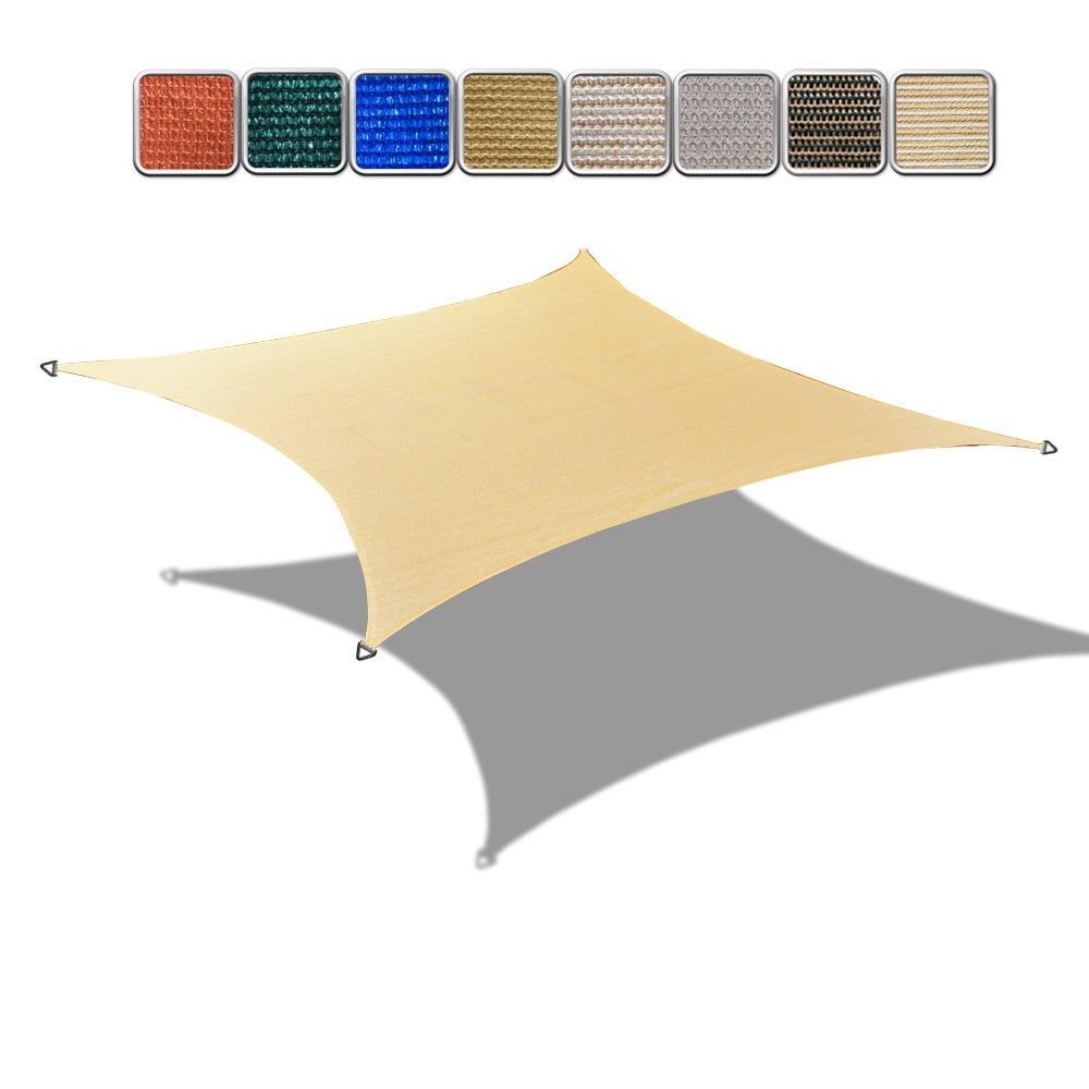 (10' x 10' Square) HDPE Sun Shade Sail w/ 6''Stainless Steel Hardware Kit - Variant Colors
