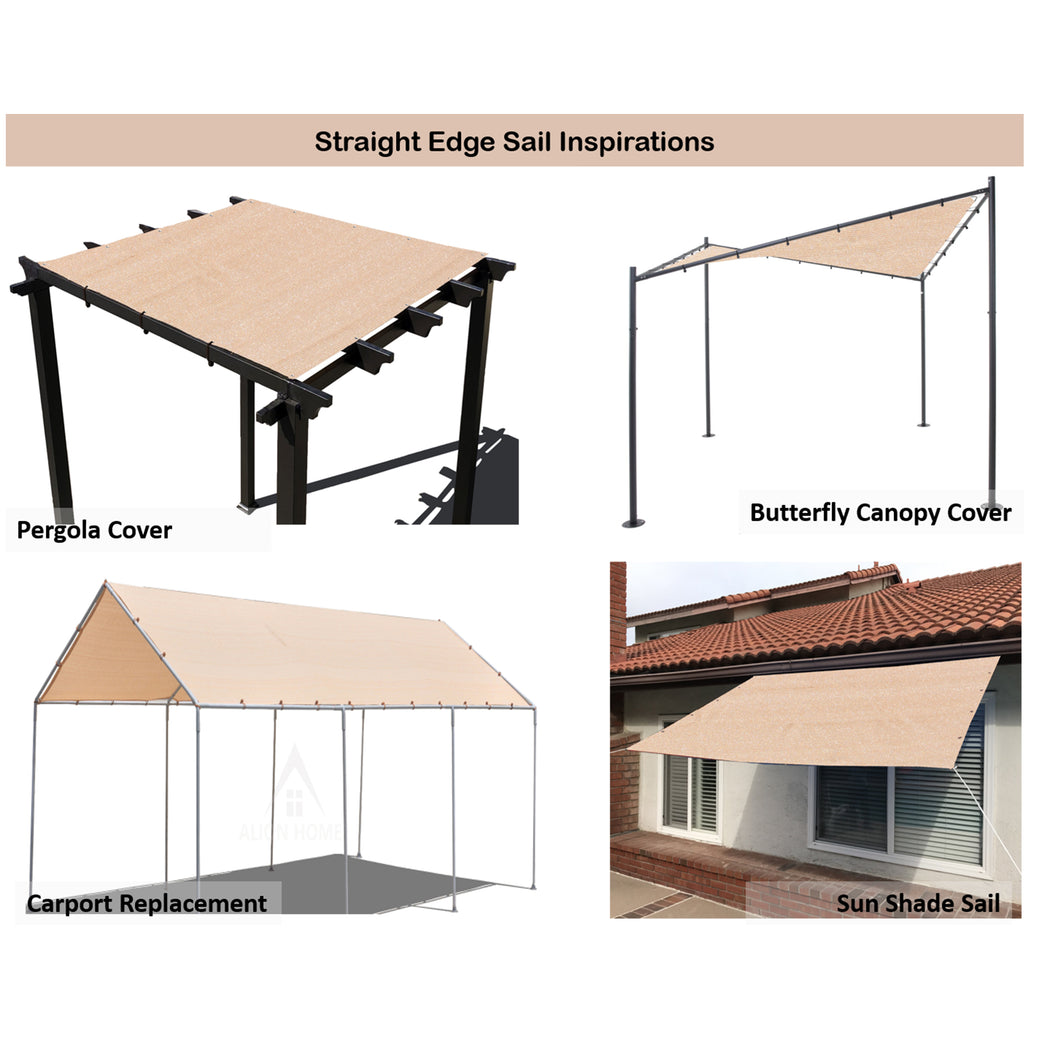 Custom Sized HDPE Straight Edge Sun Shade Sail - Banha Beige