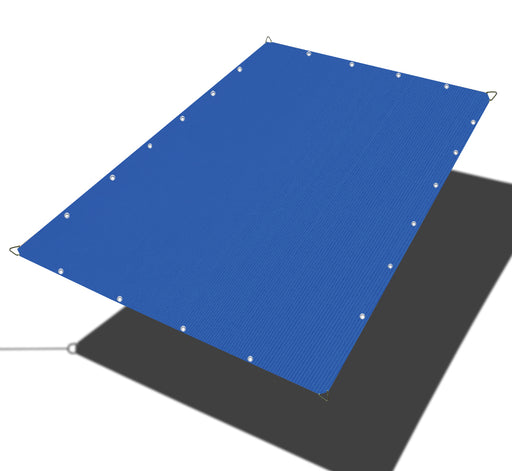 Custom Sized HDPE Straight Edge Sun Shade Sail - Blue