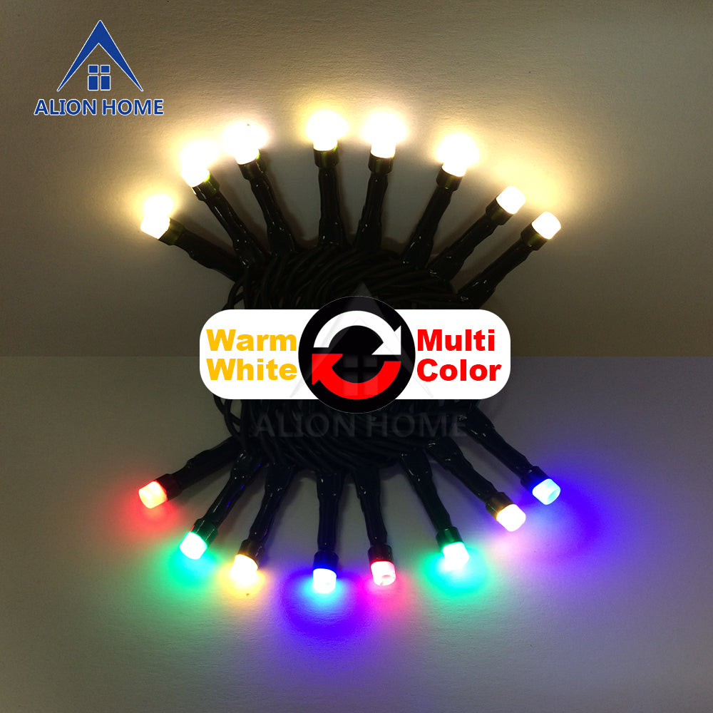 Warm White + Multicolor String Lights 100 Dual-Color DIP LED 9 Lighting Functions 33ft