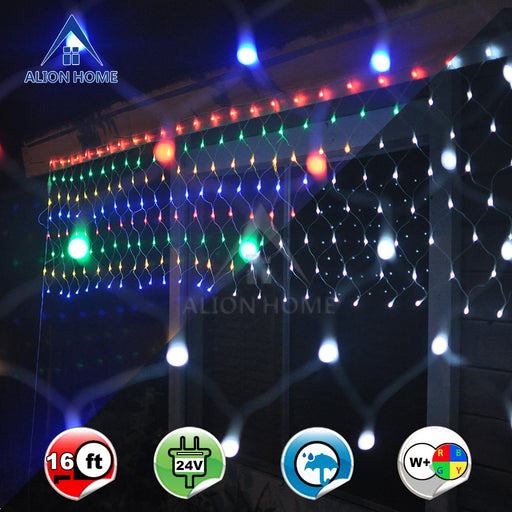 Alion Home Net Mesh 2-in-1 Dual Color 256-Count LED Bush Wrap Lights with 9 Functions & Controller