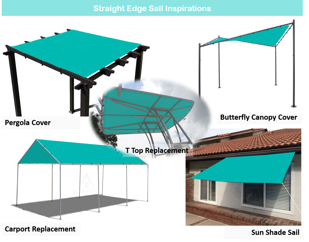 Straight Edge Waterproof Woven Polyester Sun Shade Sail - Turquoise