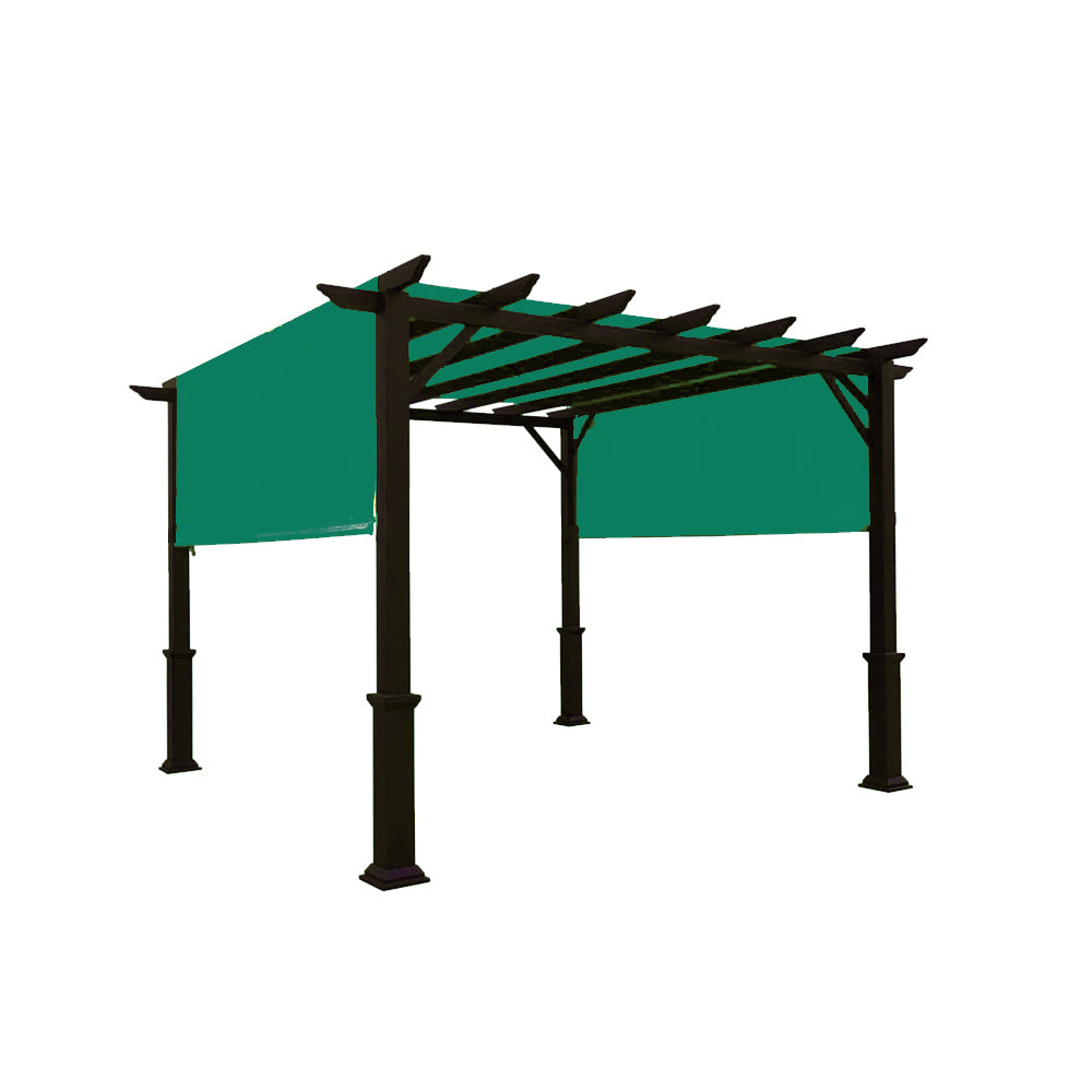 Custom Sizes Rod Pocket Waterproof Universal Replacement Shade Canopy Top Cover for Pergola - Dark Green (Pergola Not Included)